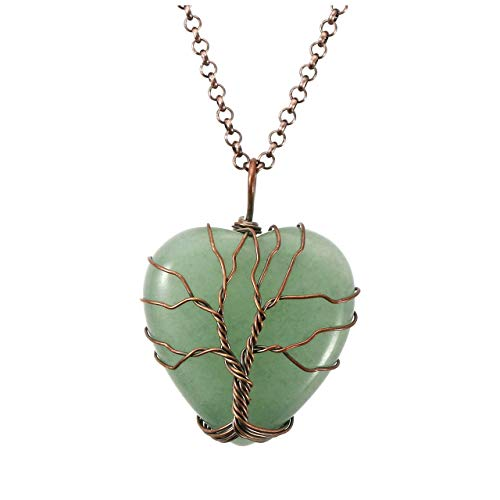 Top Plaza Natural Green Aventurine Healing Crystals Necklace Bronze Tree of Life Wire Wrapped Stone Heart Pendant Necklaces Reiki Quartz Jewelry for Womens Girls Ladies