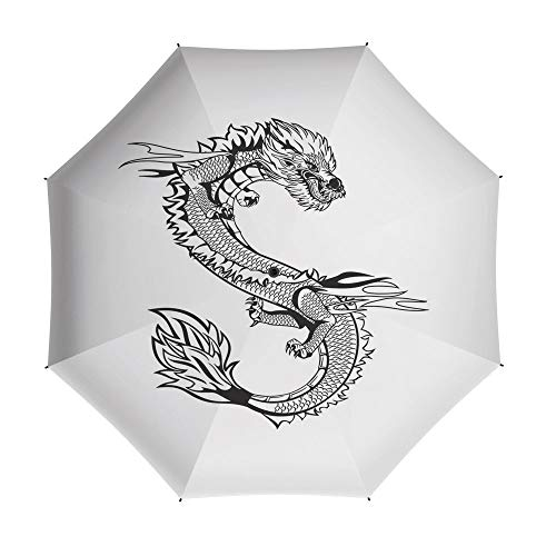 Compact Folding Travel Umbrella Windproof Waterproof,Japanese Dragon,Auto Open Close Umbrella 42 Inch,Ancient Far Eastern Culture Esoteric Magical Monster Symbolic Thai Style Decorative]()