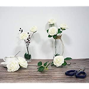 JaosWish 25PCS Real Touch Artificial Roses Fake Flowers with Stem DIY for Wedding Bouquets Baby Shower Party Home Decorations 2
