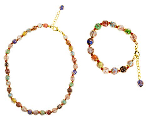 Just Give Me Jewels Genuine Venice Murano Sommerso Aventurina Glass Bead Strand Necklace and Bracelet Set, Multi-Color ()