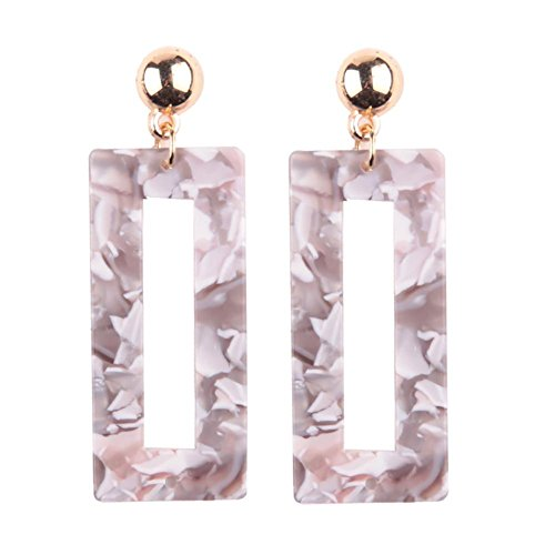 ZHUOTOP Bohemian Resin Colorful Long Rectangular Earrings Dangle Drop Earring for Women Statement Jewelry