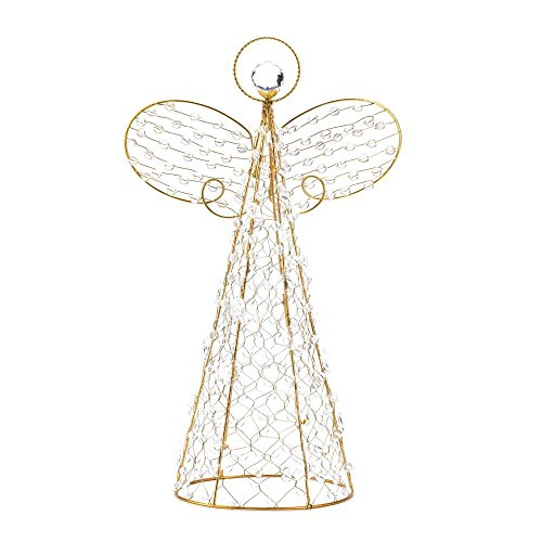 Koehler Home Holiday Tree Accent Tabletop Shelf Golden Wire Frame Crystalline Beaded Angel Decor by ()