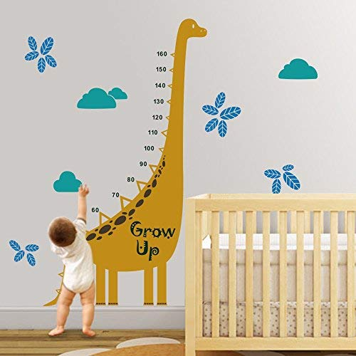 Larmai Funny Sayings Decal Dinosaur Growth Chart Kids Room Children Height Chart Vinyl (A) Art DIY Removable Room Decor Mural Vinyl Sticker (Growth Dinosaur Chart Personalized)