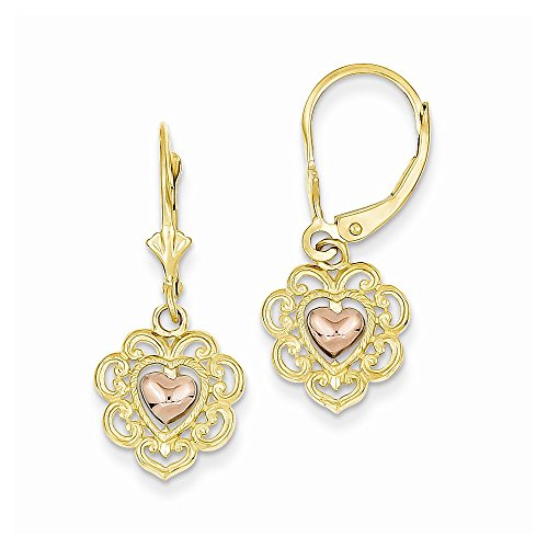 14k Gold Two Tone Heart Lace Trim Leverback - Tone Gold Lace Two
