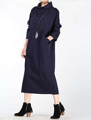 Vogstyle Mujer de la Falda con los Montones Cuello Alto y Bolsillos Grandes Armada