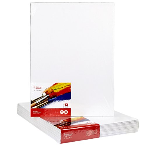 Artlicious Canvas Panels 12 Pack - 12X16 Super Value Pack- Artist Canvas Boards for Painting