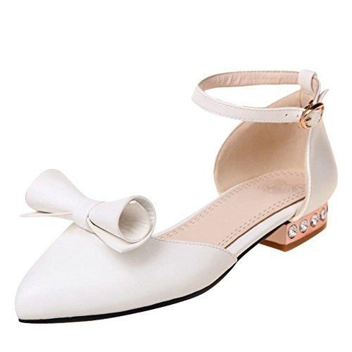 YE Damen Flache Pumps mit Riemchen Geschlossen Sommer Sandalen Ohne Absatz Bequem Schuhe mit Schleife Weiß
