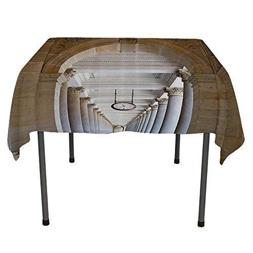 Apartment Decor Collection, Waterproof Table CoverClassical Colonnade in Karlovy Vary Czech Republic Ancient Civilization Monument Print, Home Decoration Outdoor, 50x50 Inch Beige