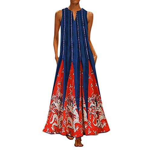 (TUSANG Women Skirts Plus Size Print Daily Casual Sleeveless Vintage V Neck Maxi Dress Slim Fit Comfy Dresss)