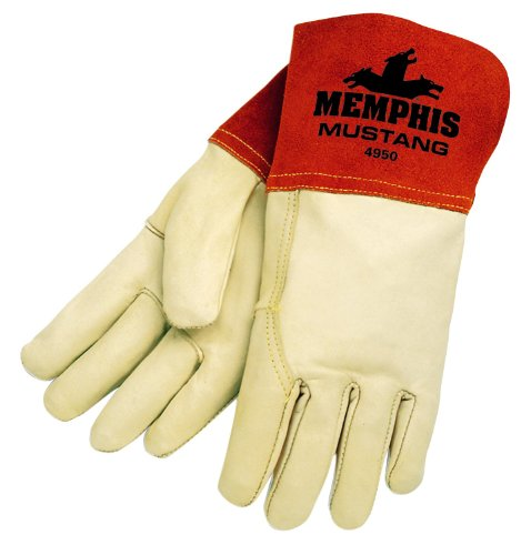Welder Glove Tig Mig (MCR Safety 4950L Mustang Premium Grain Cow MIG/TIG Welder Men's Gloves with Gauntlet Split Leather Cuff, Cream, Large, 1-Pair)
