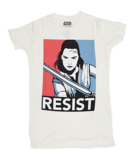 Star Wars Last Jedi Rey Resist Juniors Boyfriend T-shirt (Extra Large , Linen)