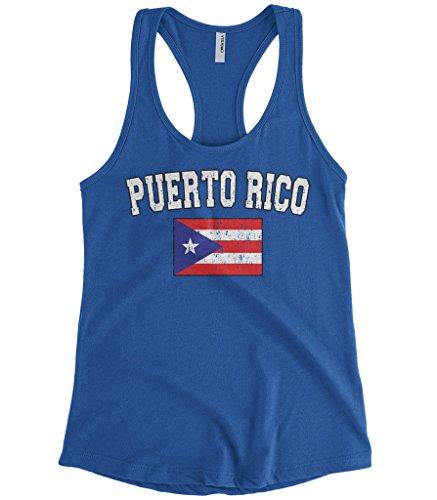 Cybertela Women's Faded Distressed Puerto Rico Flag Racerback Tank Top (Royal Blue, Medium) (Best Puerto Rican Pasteles Recipe)