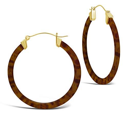 Brown Plastic Earrings - Sterling Forever - 50mm Resin Hoop Earrings (in multiple styles) (Leopard)