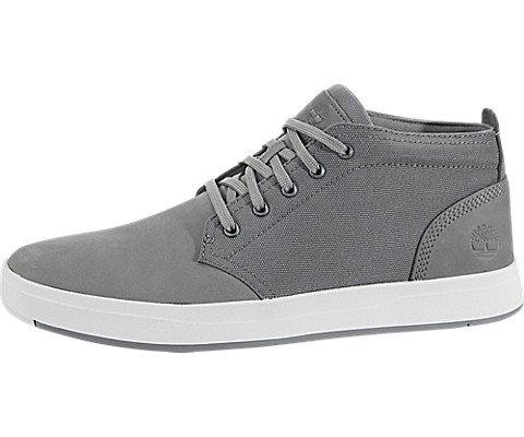 (Timberland Davis Square Fabric & Leather Chukka - Men's Steeple Grey Nubuck, 8.5)