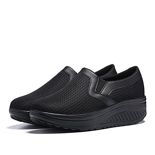 Sneakers UPS Womens Breathable Walking Shape Slip On Women SHAKE Work For Mesh Black Out Shoes Casual Wedges OqxSFHdwd