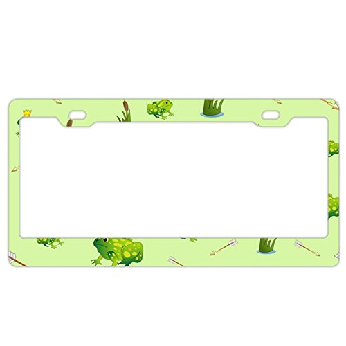 EXMENI Fabulous Frogs License Plate Frame Theft-proof Frames Stainless Steel Board Frames -