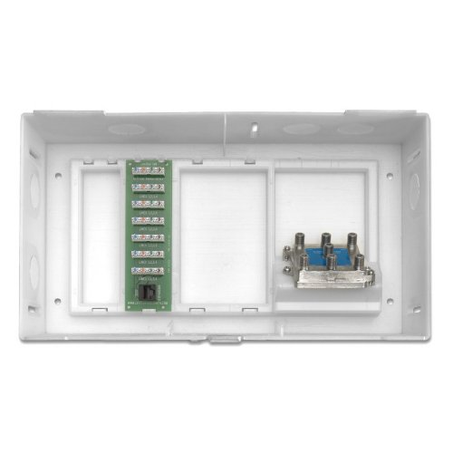 Leviton 47604-F6S Multi Dwelling Unit, MDU Kit, Plus 1 X 6 Telephone Expansion Board and 6-Way Video Splitter, ABS Enclosure and Cover, White