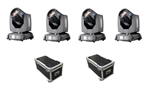 4Pcs/lot With Flight Case DMX 16/20 Channels Upgraded 7R Sharpy Beam 230W Moving Head Light Black For Easter Christmas Halloween Birthday DJ Disco KTV Bar Event Party Show (4Pcs With Flight Case)