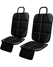 Car Seat Protector, MHO+All 2 Pack Seat Protectors for Child Seats with Waterproof Fabric, Thickest Padded Cover, Featuring Large Size Coverage and 2 Storage Pockets for Leather and Fabric Seat