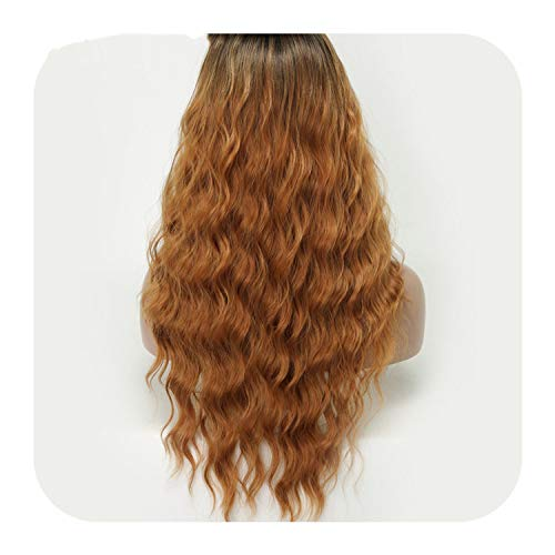 SHILINWEI Blonde Long Kinky Curly Wigs For Black Women Afro Wig Synthetic Hair African Hairstyle 7Colors High temperature Fiber,YELLOW,22inches]()