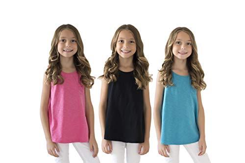 KIDIK Girls T Shirts 3Pack One Pocket Tank (Black/Capri Breeze/Rose)- M