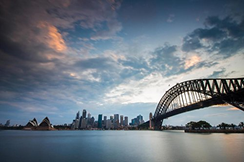 (View of Sydney Skyline with Sydney Opera House from Kirribilli Sunset Photo Art Print Mural Giant Poster 54x36 inch)