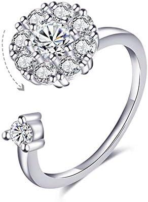 Blowin Zilveren Fidget Ring vrouwen bruiloft band Cubic Zirconia Spinner Ring Meisje Draaibare ringen verlichten angst en stress