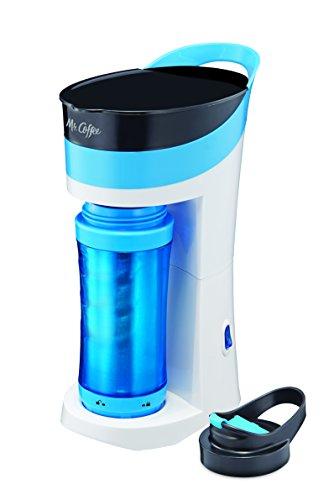 Mr. Coffee Pour! Brew! Go! 16-Ounce Personal Coffee Maker with Insulated TO-GO mug, Caffeine Blue, BVMC-MLBU