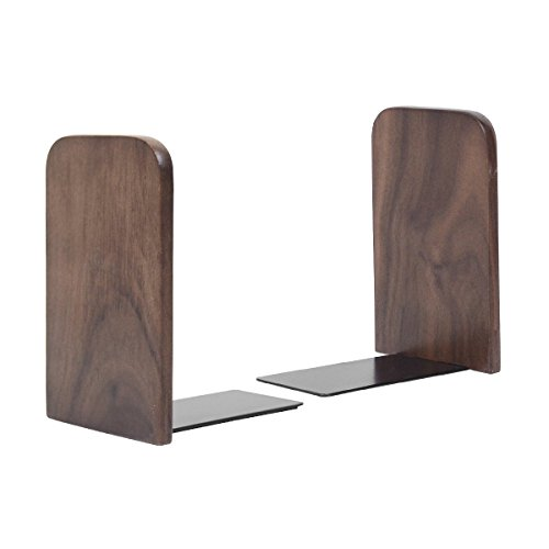 Pandapark Wood And Steel Bookends,Pack of 1 Pair,Non-Skid,German Beech Office Book Stand (Black Walnut-A)