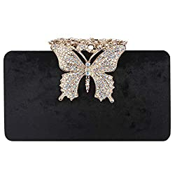 Velvet Butterfly Crystal Clutch