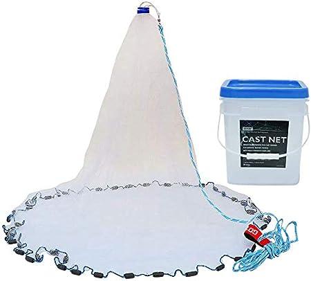 YaeMarine Saltwater Fishing Cast Net for Bait Trap Fish,3//8 inch Mesh Real Lead