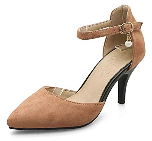(Easemax Women's Fashion Closed Toe Buckled Ankle Strap High Stiletto Heel Sandals Camel 14 B(M) US)