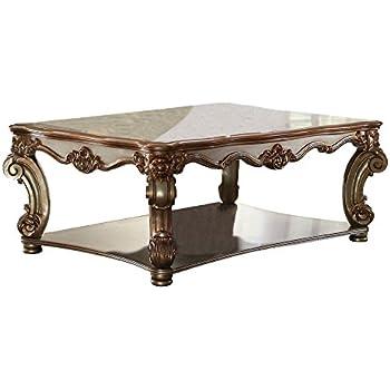 Amazon Com Acme Vendome Coffee Table Gold Patina Kitchen