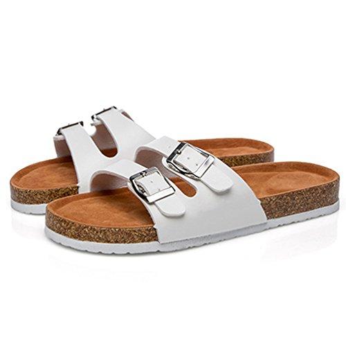 Estivi Piatto Sughero Cayuan Donna Ciabatte Pantofole da in Peep Metallo Piatto Spiaggia con Fibbia Sandali Bianca Pantofola Toe Scarpe x0fSw5qfp