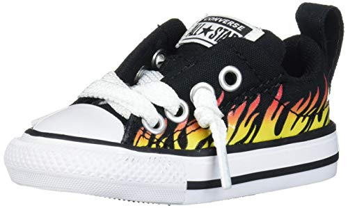 Converse Unisex-Kid's Chuck Taylor All Star Street Flame Print Low Top Sneaker, Black/Fresh Yellow, 4 M US Big Kid