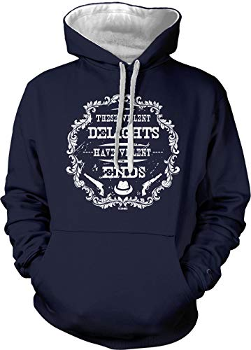 These Violent Delights Have Violent Ends Unisex Two Tone Hoodie Sweatshirt (Navy Blue/White Strings, X-Large)
