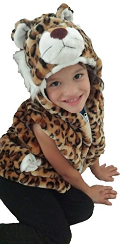 Fashion Vest with Animal Hoodie for Kids - Dress Up Costume - Pretend Play (Medium, Cheetah) -