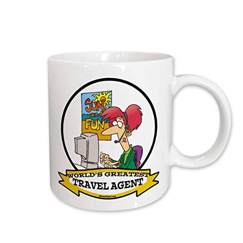 - 3dRose 103620_2 Funny Worlds Greatest Travel Agent Occupation Job Cartoon Ceramic Mug 15 oz White