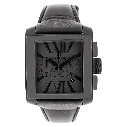 TW Steel Men's CE3013 Leather Synthetic with Black Dial Watch