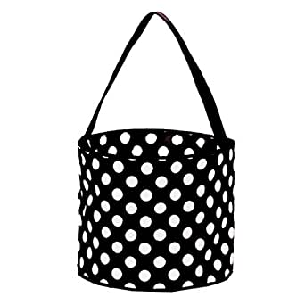 Childrens Fabric Bucket Tote Bag - Toys- Easter (Black Dot)