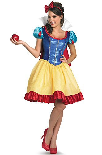 Disguise Disney Deluxe Sassy Snow White Costume, Yellow/Red/Blue, -