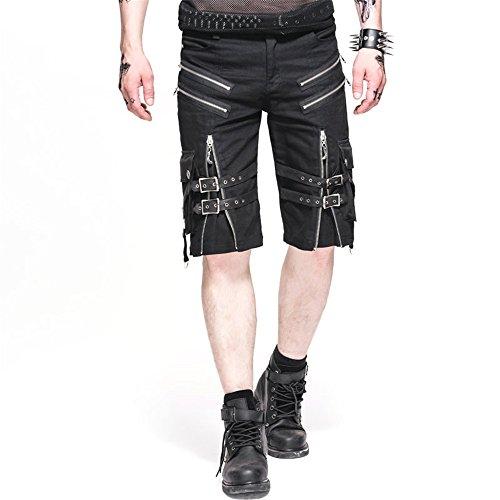 Devil-Fashion-Punk-Men-Casual-Shorts-Rock-Zipper-Summer-Black-Short-Pants-L