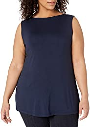 Daily Ritual Women's Plus Size Jersey Sleeveless Shell Top with Side Sp