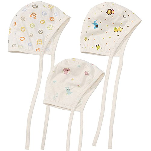 Price comparison product image WithOrganic Baby Mobile Pilot hat Cotton Newborn Cap 3-Pack Baby Infant