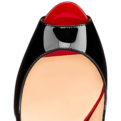 14cm Cheville Haut Élastique Chaussures Femmes Bout Femme Talon Rouge Soirée Edefs Ouvert Sandales wz4qI