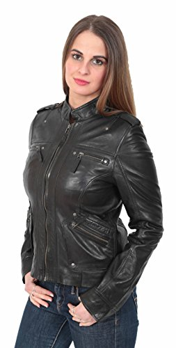 Biker Véritable Cuir Col Femme Vanessa Veste Dames Debout Pour Noir AFqxwF