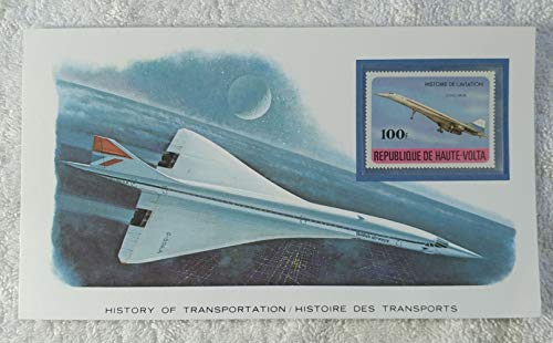 The Concorde - Postage Stamp (Republic of Upper Volta (Burkina Faso), 1978) & Art Panel - The History of Transportation - Franklin Mint (Limited Edition, 1986) - Aviation, Supersonic Airplane, Airliner