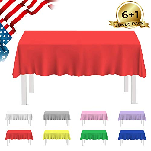 BESOS Plastic Tablecloth 7 PackTable Covers Indoor or Outdoor Parties Birthdays Weddings Christmas (Rectangle 54
