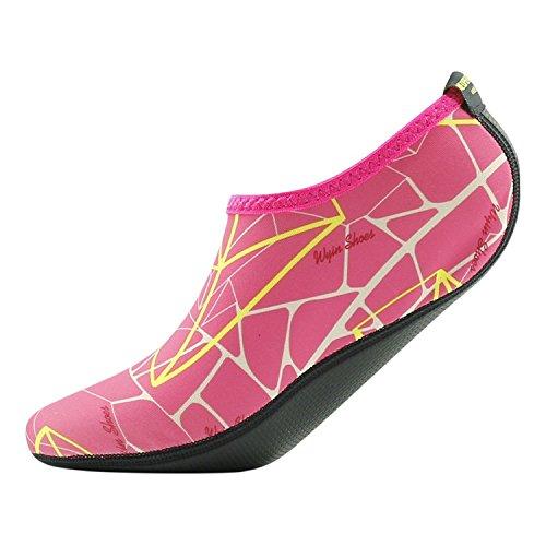 Startseite Slipper Barfuß Wasser Haut Schuhe Aqua Neopren Socken für Strand Pool Sand Swim Surf Yoga Schnorcheln 003 Schwarz & Rosa