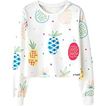 Birdfly Women High Elastic Shirt Blouse Top Cute Colorful Pineapple Pattern Plain Pullover Cheap Clearance